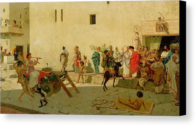 A Roman Street Scene With Musicians And A Performing Monkey Canvas Print featuring the painting A Roman Street Scene With Musicians And A Performing Monkey by Modesto Faustini