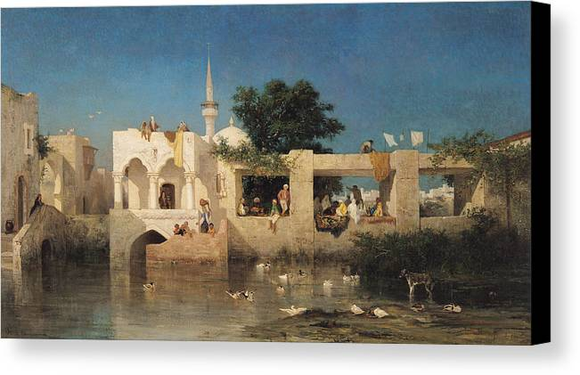 Cafe Canvas Print featuring the painting Charles Emile De Tournemine by Cafe in Adalia