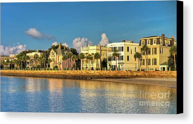 Charleston Battery Row Of Homes Canvas Print featuring the photograph Charleston Battery Row Of Homes by Dustin K Ryan