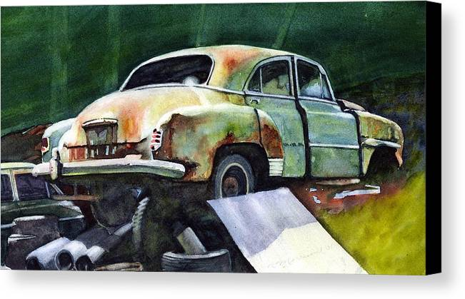 Chev Canvas Print featuring the painting Chev At Rest by Ron Morrison