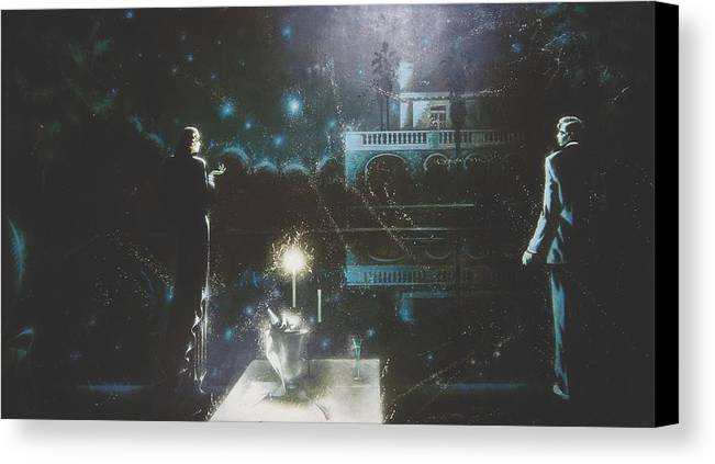 Figures Canvas Print featuring the painting Dinner By Candlelight by Andrej Vystropov
