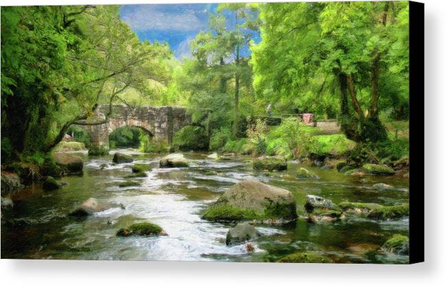 Dean Wittle Canvas Print featuring the painting Fingle Bridge - P4a16007 by Dean Wittle