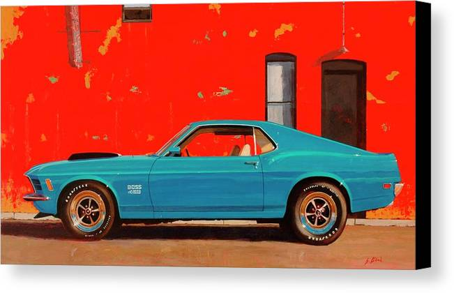 Muscle Car Canvas Print featuring the painting Grabber Blue Boss by Greg Clibon