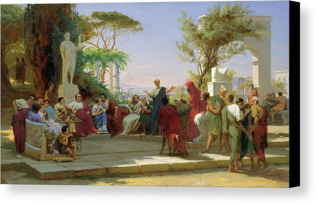 Horatius Canvas Print featuring the painting Horatius Reading His Satires To Maecenas by Fedor Andreevich Bronnikov