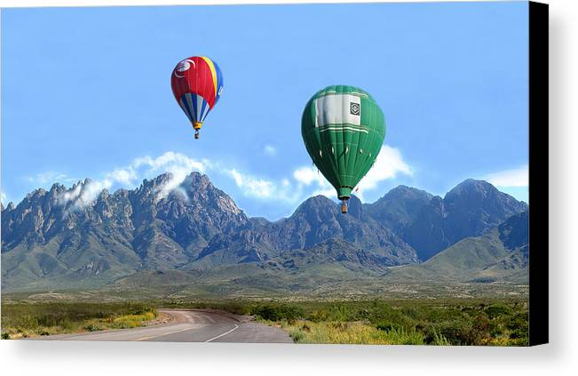 Organ Mountains-desert Peaks National Monument Canvas Print featuring the photograph Hot Air Over The Organ Mountains by Jack Pumphrey