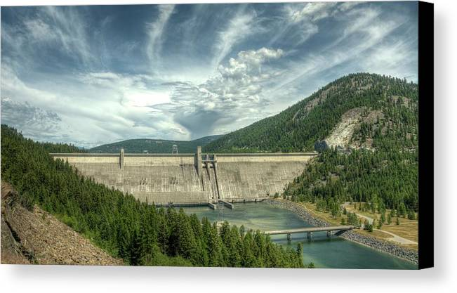 Landscape Canvas Print featuring the photograph Libby Dam by Constance Puttkemery