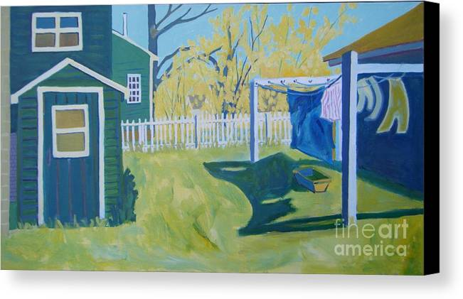 Backyard Canvas Print featuring the painting Line Of Wash by Debra Bretton Robinson