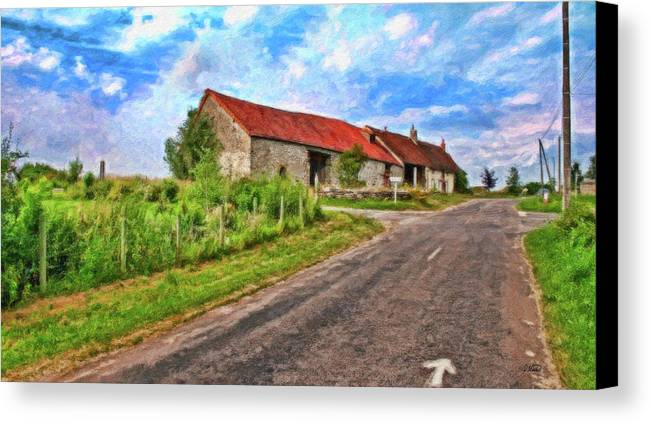 Dean Wittle Canvas Print featuring the painting Long Barns Near Avincey - P4a16016 by Dean Wittle