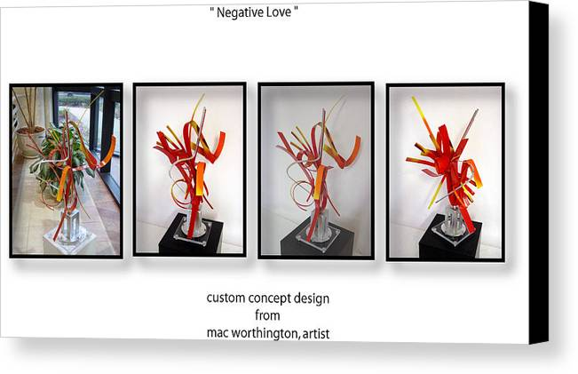 Metal Canvas Print featuring the sculpture Negative Love by Mac Worthington