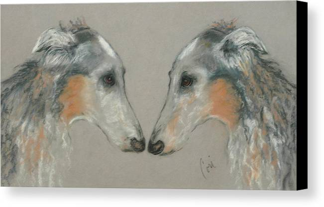 Dog Canvas Print featuring the drawing Nose To Nose by Cori Solomon