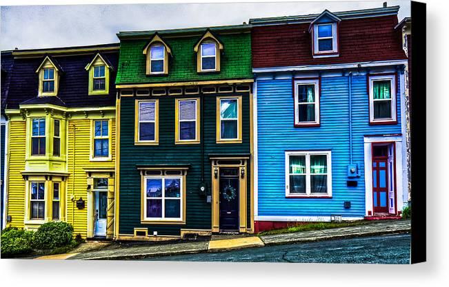 Jellybean Houses Canvas Print featuring the photograph Old Jellybean Row Houses by Gord Follett