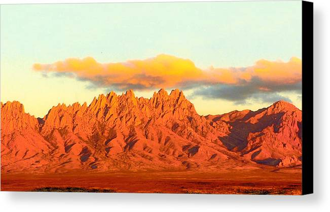 A Jack Pumphrey Photograph Of The Organ Mountains-desert Peaks National Monument Canvas Print featuring the photograph Red Mountain Sunset Organs by Jack Pumphrey