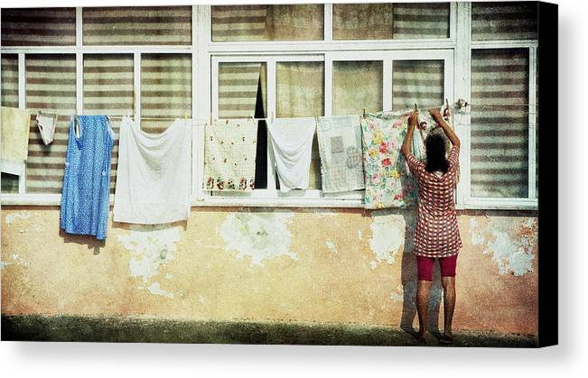 Daily Life Canvas Print featuring the photograph Scene Of Daily Life by Vittorio Chiampan