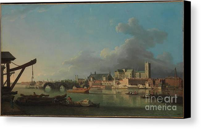 The Building Of Westminster Bridge Canvas Print featuring the painting The Building Of Westminster Bridge by MotionAge Designs