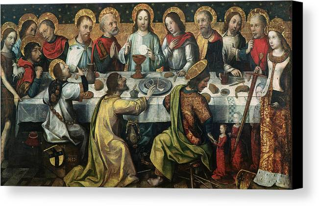 The Canvas Print featuring the painting The Last Supper by Godefroy