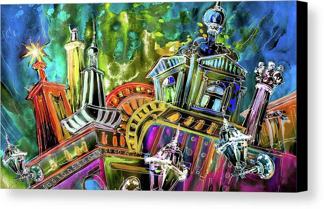 Czech Republic Canvas Print featuring the painting The Magical Rooftops Of Prague 02 by Miki De Goodaboom