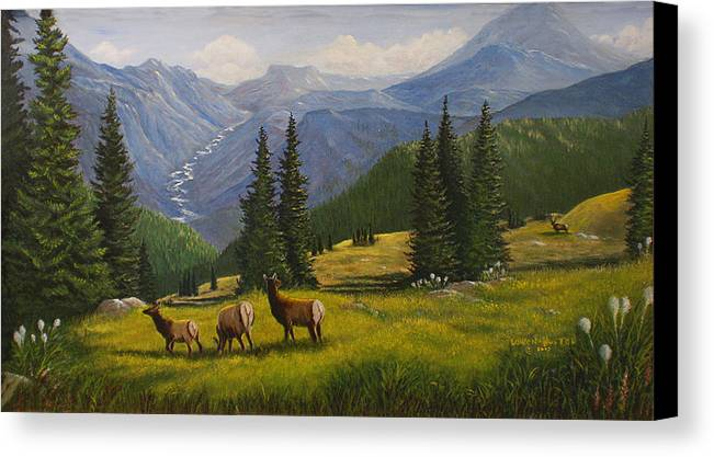 Landscape Canvas Print featuring the painting The Moyie Drop by Lucille Owen-Huston