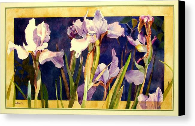 Irises Canvas Print featuring the painting Three Gossips by Linda Marie Carroll