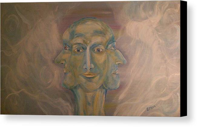 Face Canvas Print featuring the painting Tripartite by Jessica Mason