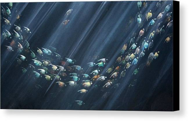 Fish Canvas Print featuring the painting Turning Point by Ana Bikic
