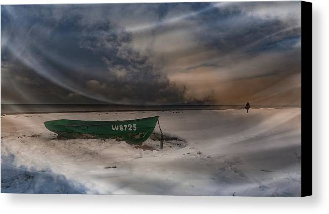 #beach#snow#boat#green#clouds#sky#blue#white#sea#winter#ice#could#light#girl#loneliness# Canvas Print featuring the digital art Winter Mood by Aleksandrs Drozdovs