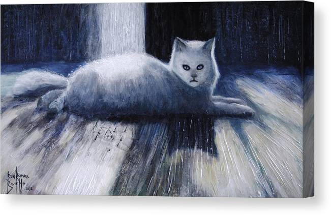 Cat Canvas Print featuring the painting Opie by Ron Richard Baviello