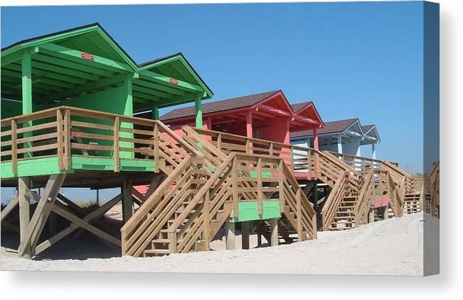 Camp Lejeune Canvas Print featuring the photograph Colorful Cabanas by Caryl J Bohn