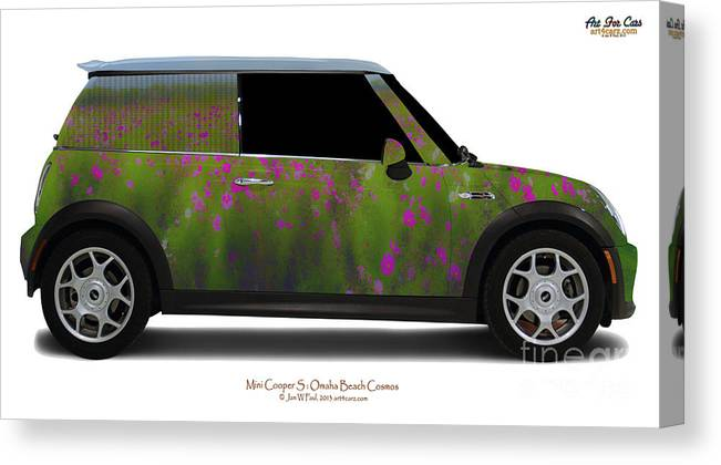 Car Canvas Print featuring the photograph Mini Cooper S Normandy Cosmos by Art Faul