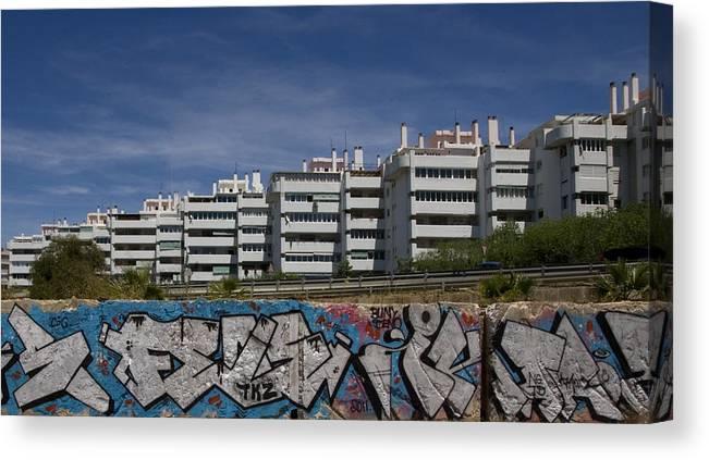 Fuengirola Canvas Print featuring the photograph Myramar Apartments With Graffiti by Austin Brown