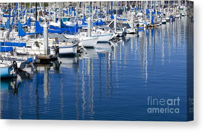 Sail Canvas Print featuring the photograph Sail Boats Docked In Marina by B Christopher