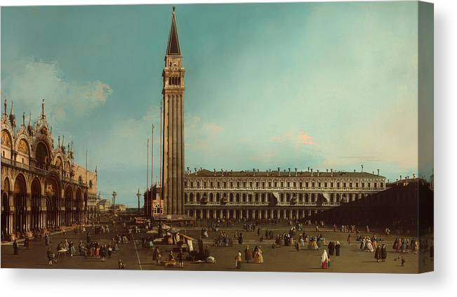 Painting Canvas Print featuring the painting The Piazza San Marco Venice by Mountain Dreams