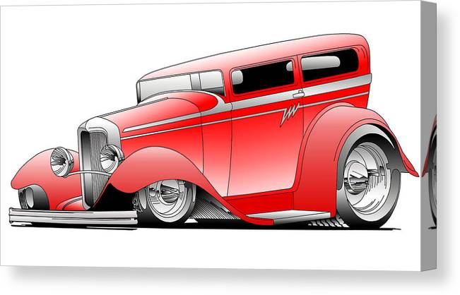 Hot Rod Canvas Print featuring the digital art Red Rod by Lyle Brown
