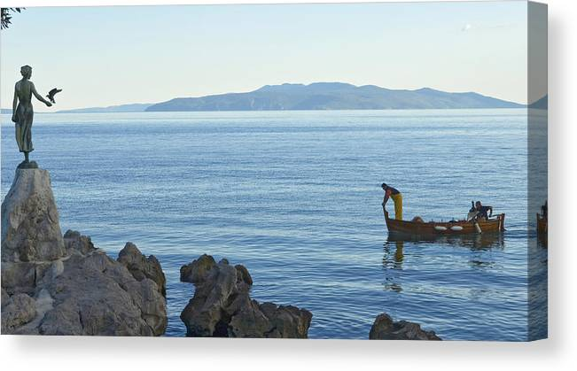 Horizontal Canvas Print featuring the photograph Waterfront Of Opatija Showing Statue by Axiom Photographic