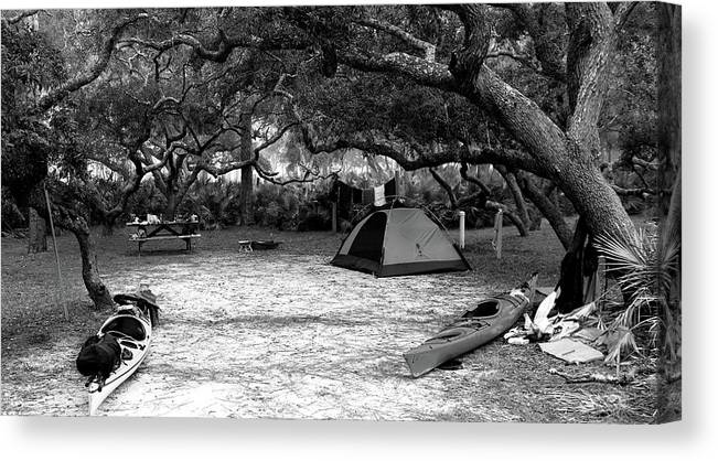 Camp Canvas Print featuring the photograph Camp Under Live Oaks by Daniel Reed