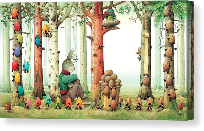 Eggs Easter Forest Canvas Print featuring the painting Forest Eggs by Kestutis Kasparavicius
