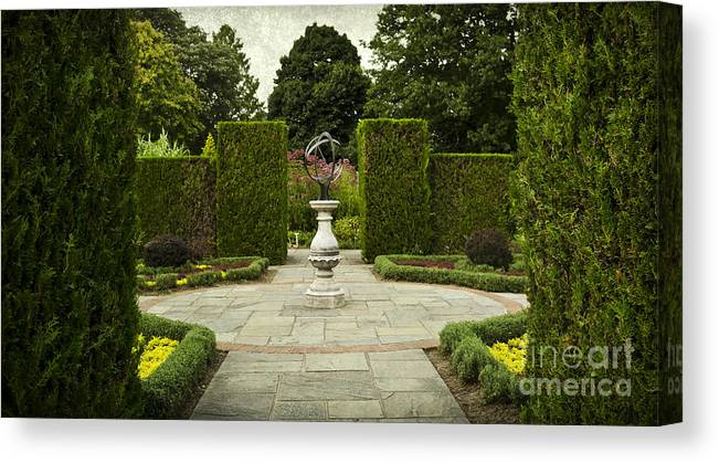 Botanical Canvas Print featuring the photograph Quiet Garden Space At Niagara Falls Botanical Gardens by Maria Janicki