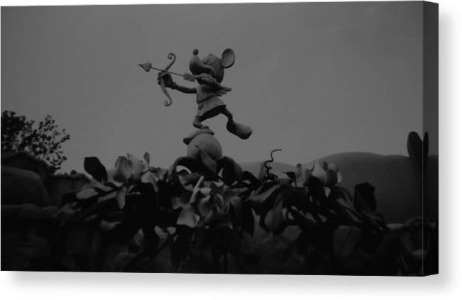 Black And White Canvas Print featuring the photograph Mickey Mouse In Black And White by Rob Hans