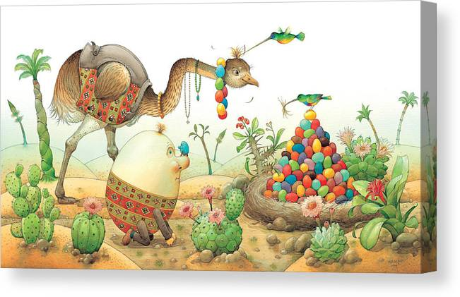 Eggs Easter Birds Canvas Print featuring the painting Minieggs And Maxiegg by Kestutis Kasparavicius