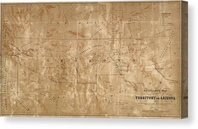 Old Map Of Arizona And New Mexico By Arthur De Witzleben - 1860 Canvas Print