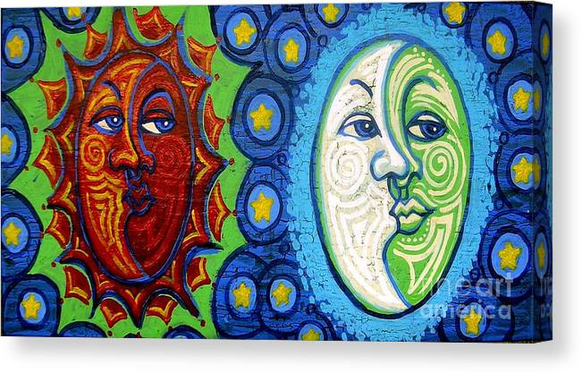 Sun Canvas Print featuring the painting Sun And Moon by Genevieve Esson