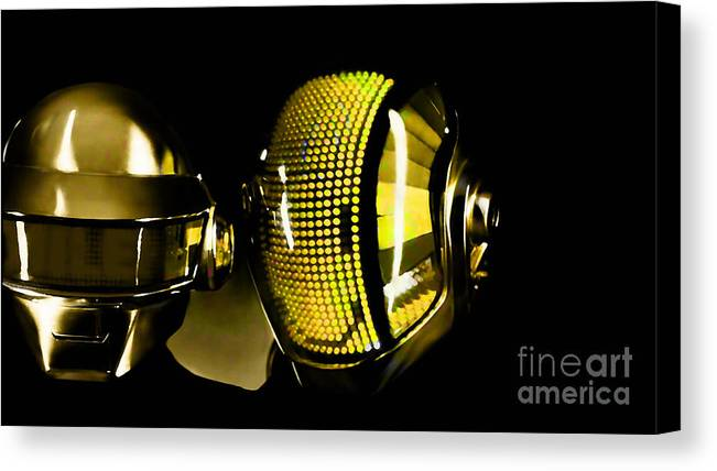 Tron Paintings Mixed Media Canvas Print featuring the mixed media Daft Punk by Marvin Blaine