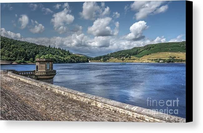 Blue Sky Canvas Print featuring the photograph Ladybower Dam by Mickey At Rawshutterbug
