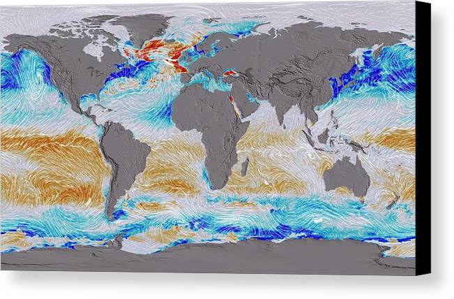 Earth Canvas Print featuring the photograph Ocean Surface Co2 And Winds by Nasa's Scientific Visualization Studio