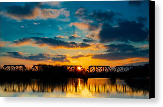 Sunset Canvas Print featuring the photograph Sunset Railroad Bridge by Berkehaus Photography
