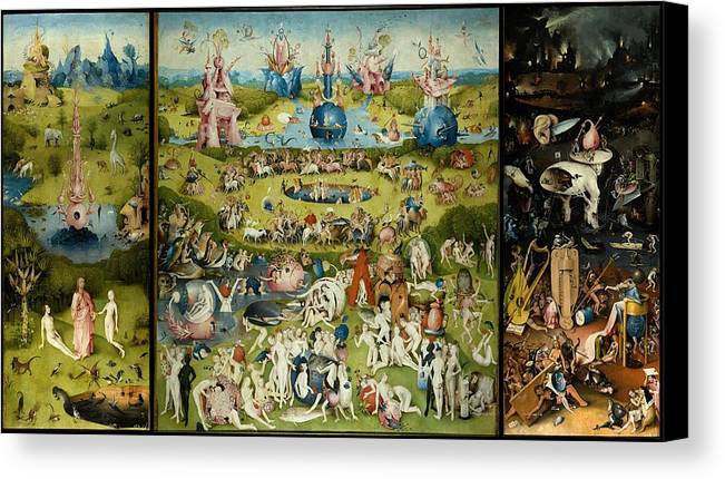 Exceptional Hieronymus Bosch Canvas Print Featuring The Painting The Garden Of Earthly  Delights By Hieronymus Bosch
