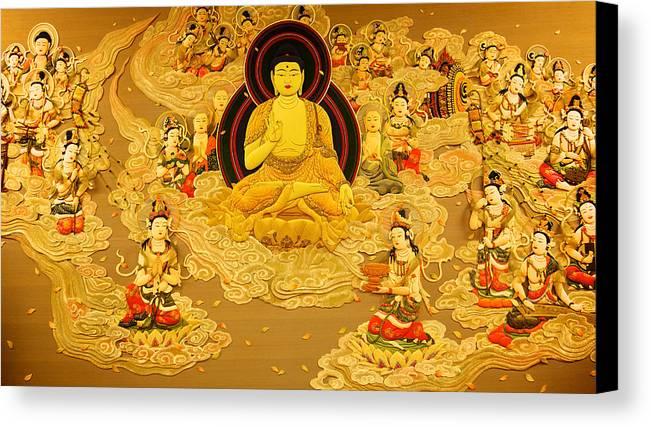Art Canvas Print featuring the photograph Buddha And Fairies by Chris Quek