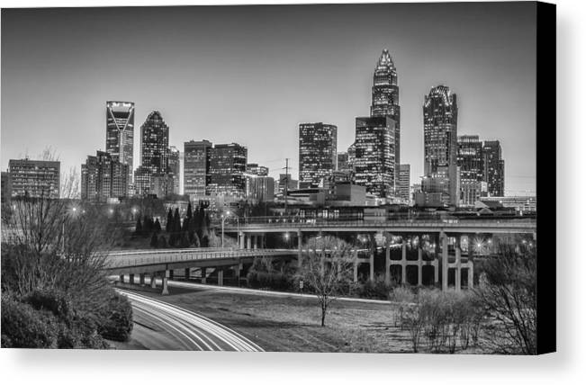 Charlotte Canvas Print featuring the photograph Charlotte Sunset Black And White by Brian Young
