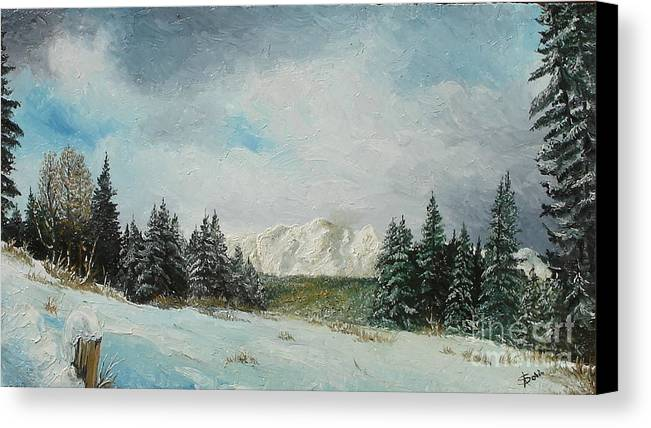 Winter Canvas Print featuring the painting Cioplea by Sorin Apostolescu