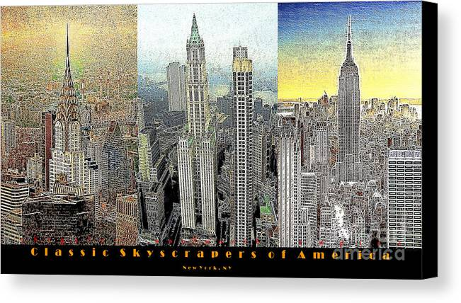 Woolworth Building Canvas Print featuring the photograph Classic Skyscrapers Of America 20130428 by Wingsdomain Art and Photography