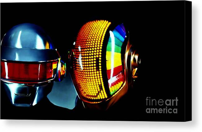 Tron Paintings Canvas Print featuring the mixed media Daft Punk by Marvin Blaine